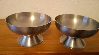 Old Hall Stainless Steel  x 2 Sundae/Cocktail Dishes - VGC