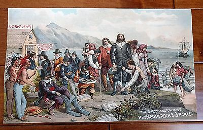 OLD Lithograph Advertising  Print Plymouth Rock $3 Pants Christopher Columbus