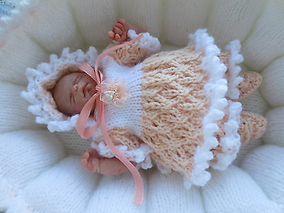 "Hand Knitted 7/8"" Ooak Sculpt Baby Doll Set."