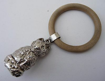 Old Solid Silver CAT Baby Rattle - Hallmarked B'Ham 1928