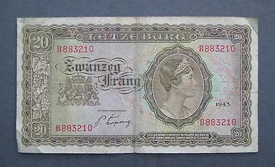 1943 Letzeburg (Luxembourg) 20 Francs Banknote - * No Reserve * - (S844)