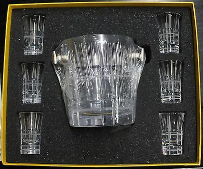 Chritofle For Breitling Navitimer Crystal Ice Bucket And 6 Shot Glasses