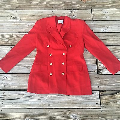 Doncaster Wool Jacket Red Size 42 Gold Buttons Shoulder Pads Vintage