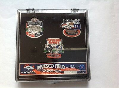RARE Denver Broncos Invesco Field Opening game Pin Set Numbered