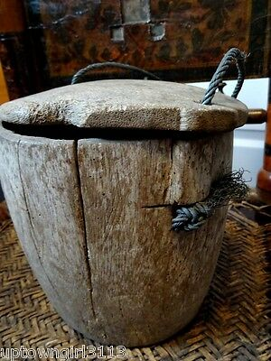 PRIMITIVE old CHINESE ASIAN grain rice bucket pail REMOVABLE BOTTOM unique