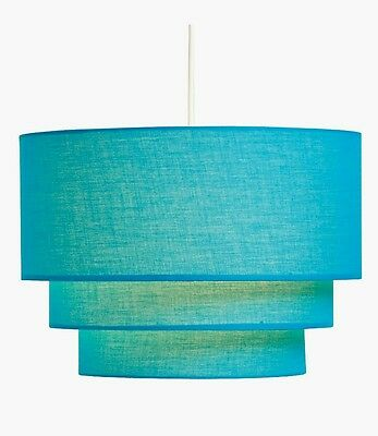 Blue Teal Three Tiered Ceiling Light Shade Large Lightshade 35cm x 35cm