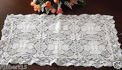 """Vintage Needle Lace Table Runner Doily White Intricate Lace 18x10"""""""
