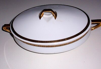 Covered Casserole Dish Hermann Venus China Silesia Oval  White with gold trim