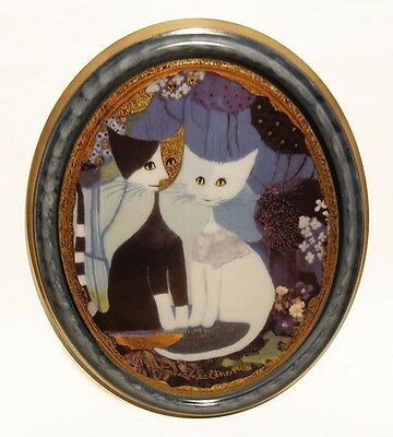 Goebel Porcelain Wall Decor Plaque Signed Rosina Wachtmeister Cats Oval Picture