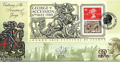 2010 GEORGE 5th M/SHEET GREAT BRITAIN BRADBURY OF LEICESTER FDC 84/125 VGC
