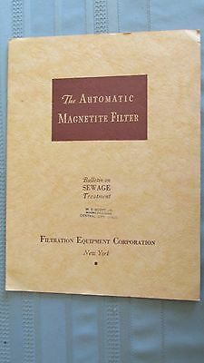 1935 Filtration Equipment Corporation Automatic Magnetite Filter Sewage Brochure