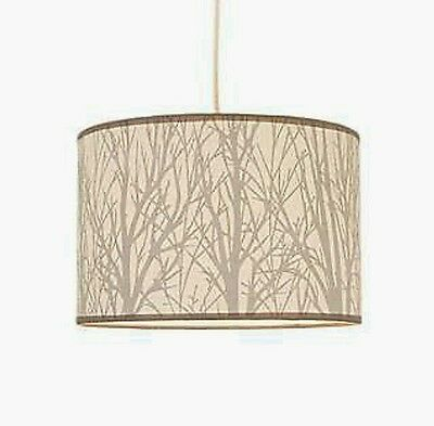 New 30Cm Enchanted Forest Ceiling Light Shade Neutral Cream Grey Twigs