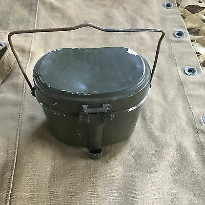 Vintage (olive green) mess tin billy can & cutlery military field cooking army