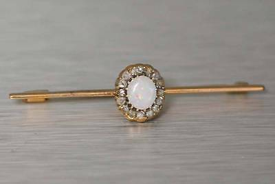 Vintage Estate Bar Pin Brooch Precious Opal and Diamonds Solid 14K Yellow Gold