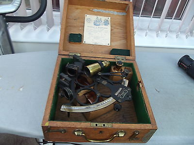 Vintage Heath & Co Brass Sextant With Box