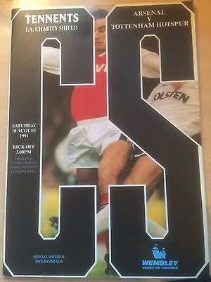 Arsenal Tottenham Charity Shield Programme 10th August 1991