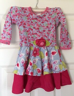 Baby Lulu Girls Size 3T Floral Long Sleeve Dress Blue Pink