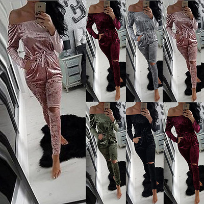 hot Ladies Crushed Velour Velvet Womens Warm Lounge Wear Co-ordinate Tracksuit