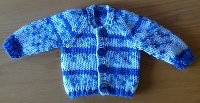 "Dolls clothes hand knitted for 12-14""  boy doll's  cardigan, also premature baby"