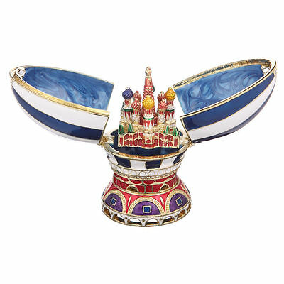 Russian Decorative Faberge Egg Moscow Saint-Basil's Cathedral 3.3'' (8.3cm) blue