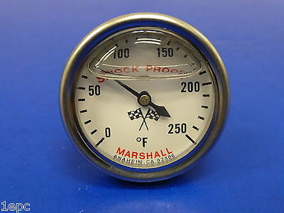 Marshall Gauge 0-250 F Direct Mount Engine Water Oil Transmission Temp 3/8 NPT