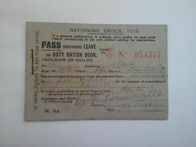 WW1 1918 - 9th ROYAL LONDON BATTALION PASS/DUTY RATION BOOK - HOSPITAL DISCHARGE