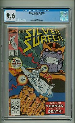 Silver Surfer (Vol. 3) 34 (CGC 9.6) White pgs; Return of Thanos; 1990 (c#13059)