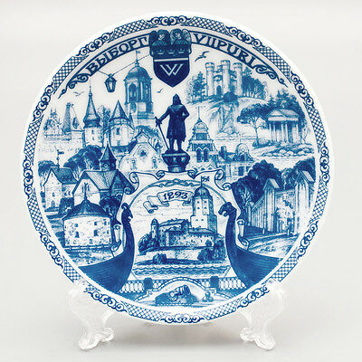 Souvenir porcelain plate with stand. Vyborg. St Petersburg. Russia. Suspension
