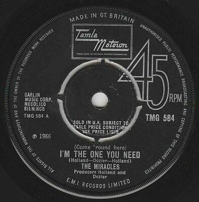 Miracles - I'm The One You Need - Rare Motown Uk Tmg584