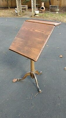 Antique Drafting Table With Industrial Iron Base