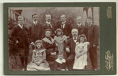 Victorian cabinet card photo large family group Wales  photographer
