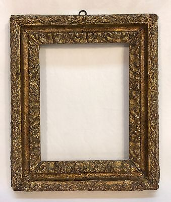Antique Early 19th C Italian Hand Carved Gold Gilt Frame 7 1/4 x 9 1/4 Opening