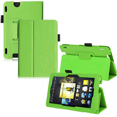 PU Leather Folio Stand Cover Case For Amazon Kindle Fire HDX 7 Inch Green