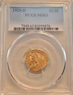 1925 D $2.50 PCGS MS 63 Gold Indian Quarter Eagle Uncirculated 2 and 1/2 PQ Look