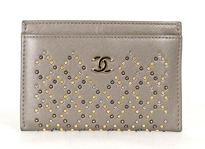 CHANEL 16A Gray Leather Logo Metal Studded Card Holder Wallet