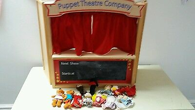 WOODEN THEATRE PUPPET SHOW with SELECTION of FINGER PUPPETS