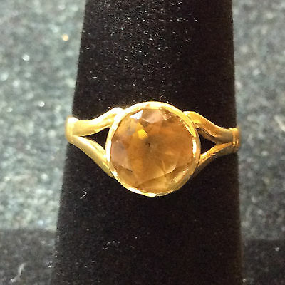 Vintage 14K Yellow Gold Citrine Ring Size 5.75