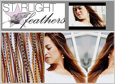 Feather Hair Extensions Feder Haar Extension echte natur Grizzly Feathers Set