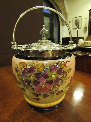 Hand Painted & Silver Plated Biscuit Barrel by W. Wood & Co. 1895