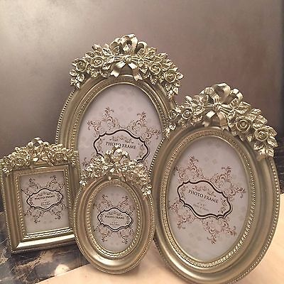 Champagne Gold Oval Photo Picture Frame Vintage Style - 3 Sizes