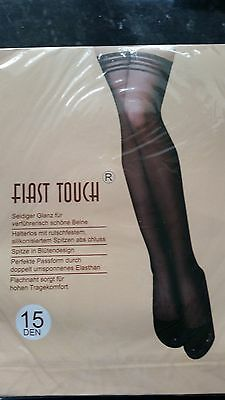 Fiast Touch 15 deniere black hold up stockings