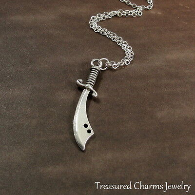 Silver Scimitar Sword Charm Necklace - Dagger Knife Weapon Pendant Jewelry NEW