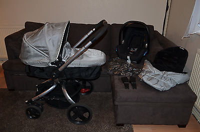 Mothercare Spin, Travel System 3in1 inc Maxi Cosi Car Seat, raincover