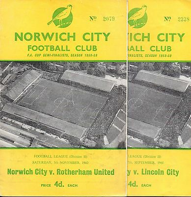 Norwich City 1960/61 Rotherham & Lincoln City