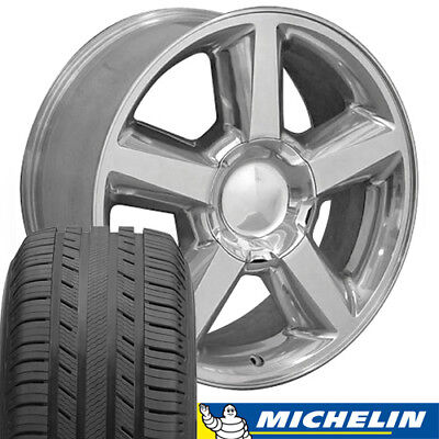 20x8.5 Polished Tahoe LTZ Style Wheels & Michelin Tires Rims Fit Chevrolet CP