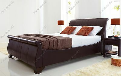4ft6 Double Bamburgh Brown Matt Leather Kaydian Bed Frame -Relocation Sale