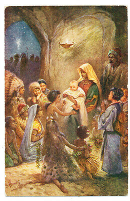 Vintage S.P.C.K./Shaw's postcard The Worship of the Nations. No. 1
