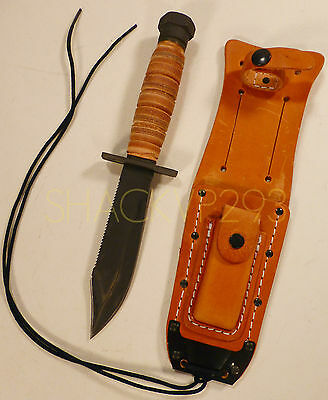 US Air Force OKC Ontario Knife Pilots Survival Knife with Leather Sheath 499