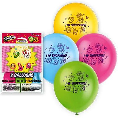 16 SHOPKINS Latex Balloons Assorted Colors Kids Birthday Party Supplies