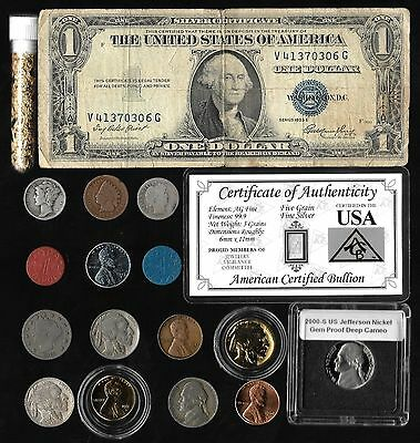Silver Dollar Mercury Barber Liberty Indian WWII US Coin Collection Lot Gold Pl.